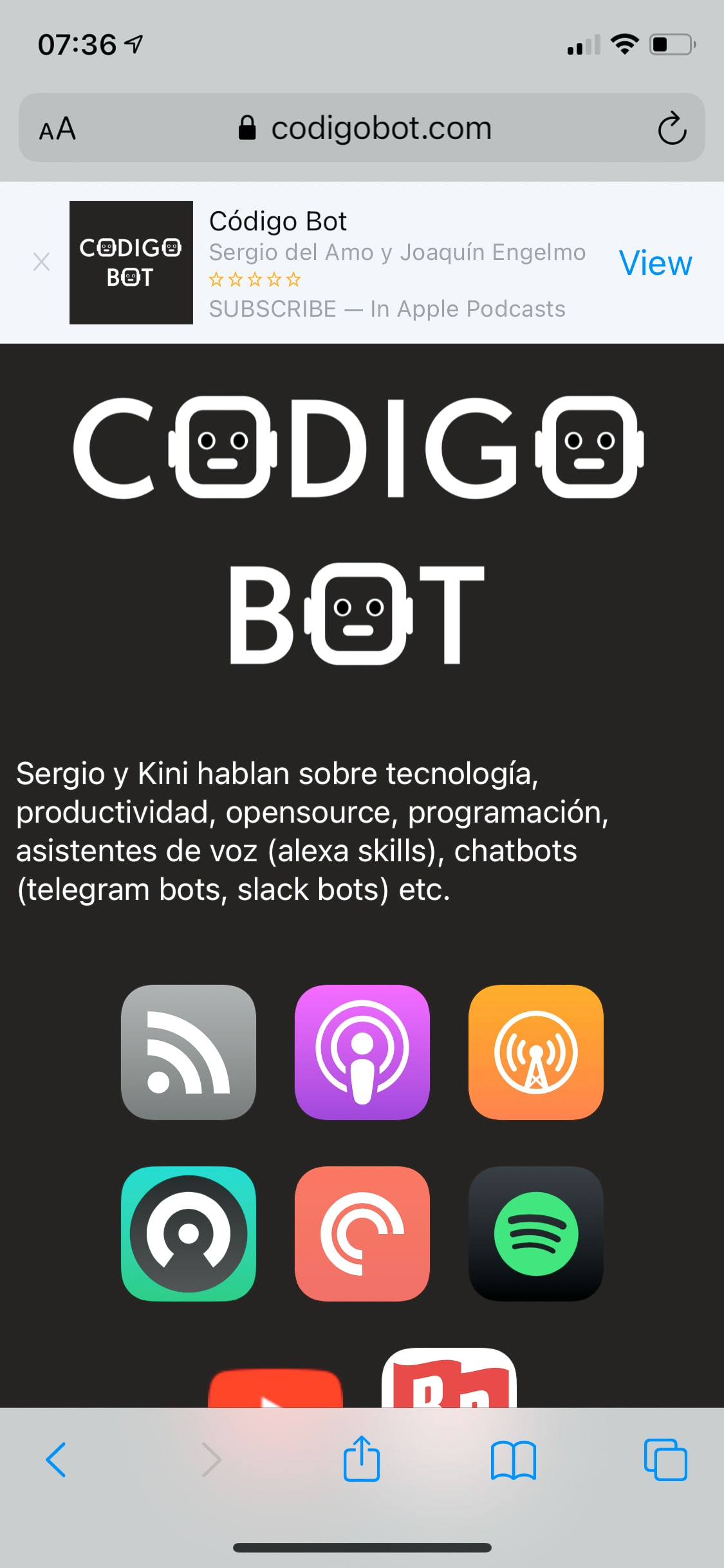 Código Bot Podcast Smart Banner