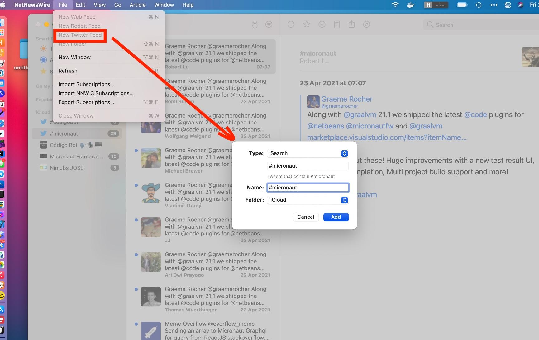 NetNewsWire Twitter Micronaut hashtag subscription