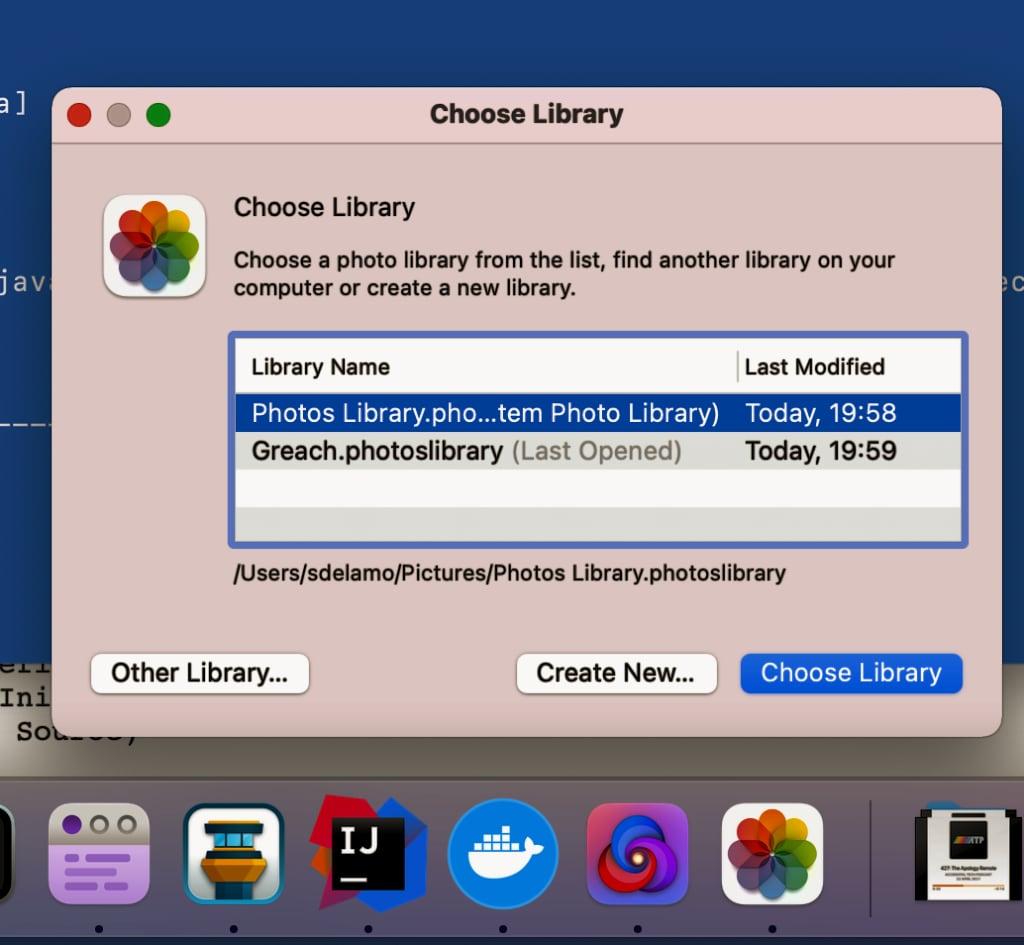 Photos for MacOs choose a Library
